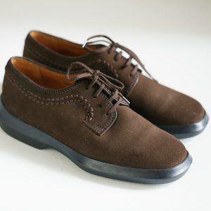 Tod's Dark Brown Nubuck Leather Lace Up Loafers